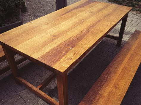 Table En Chene by Table En Ch 234 Ne Massif Huil 233 2 Bancs En Ch 234 Ne Massif