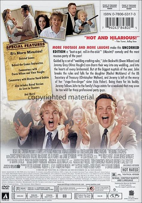 film romance unrated wedding crashers unrated fullscreen 2005