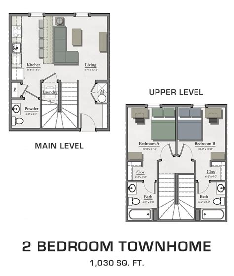two bedroom townhomes floor plans for msu students student housing in east lansing