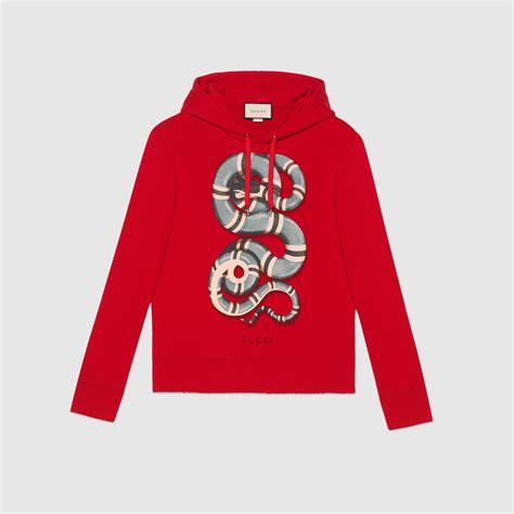 Hoddie Gucci cotton sweatshirt with snake print gucci new sweatshirts hoodies 454585x5k576174