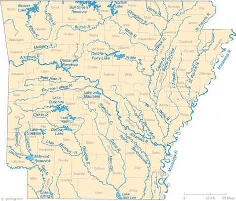 map of texas lakes and rivers map of arkansas lakes streams and rivers