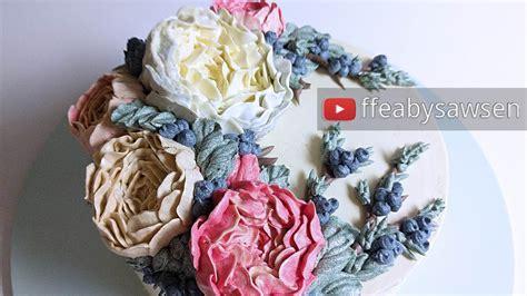 Wreath Style Korean Buttercream korean buttercream flower wreath cake tutorial peony juniper berry