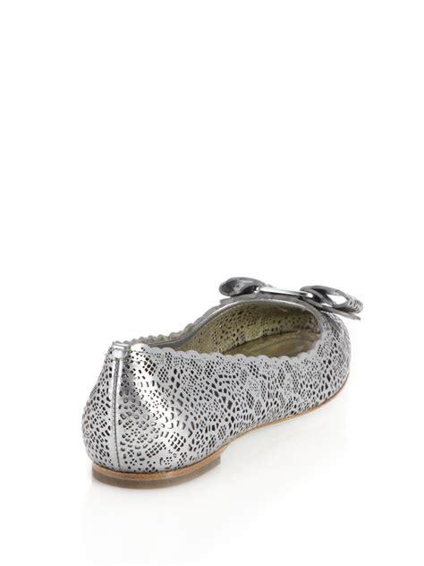 Flatshoes Ferragamo Import 19 ferragamo varina laser cut metallic leather ballet flats in metallic lyst