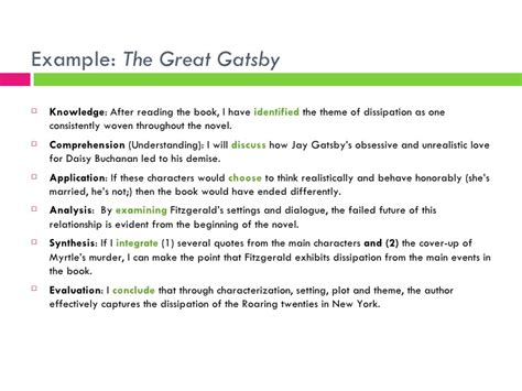 themes and exles of the great gatsby bloom s taxonomy and the introductory paragraph
