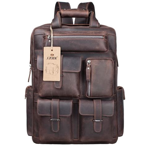 Handmade Leather Backpacks - s zone mens genuine leather handmade 17 inch laptop