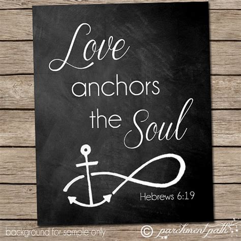 Love Anchors The Soul Print - love anchors the soul wall art hebrews 6 19 by parchmentpath