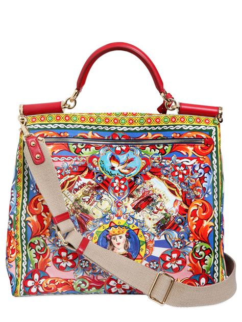 Dg Dolce And Gabbana Floral Canvas Satchel by Lyst Dolce Gabbana Maxi Sicily Printed Cotton Canvas Bag