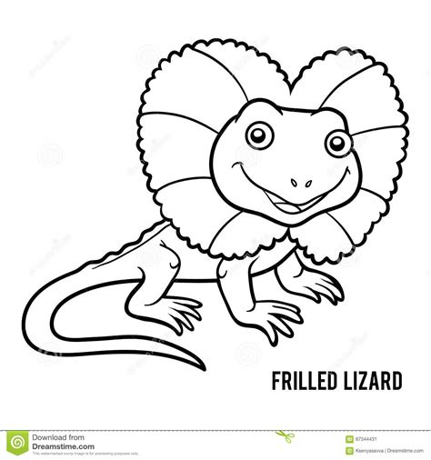 frilled lizard coloring pages coloring book frilled lizard stock vector image 87544431
