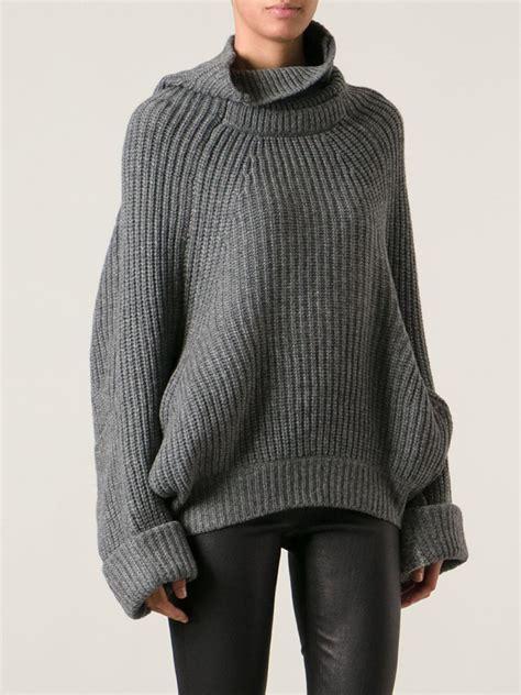 Gray Wool Knit Top S607 grey wool turtleneck sweater womens zip sweater