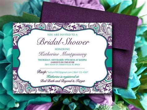 bridal shower invitation template teal green eggplant