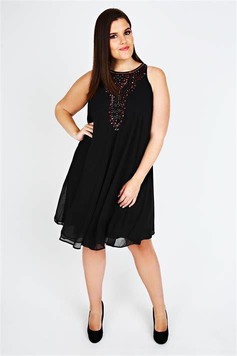 size 16 swing dress black chiffon sleeveless swing dress with red