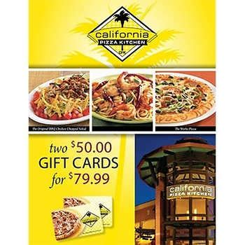List Of Gift Cards Sold At Costco - california pizza kitchen two 50 gift cards