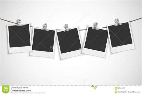 instant photos instant photo frame with bulldog clip stock vector