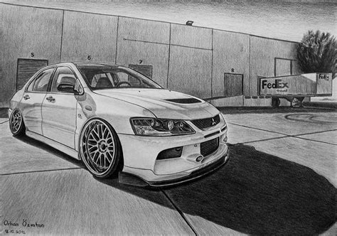 mitsubishi evo drawing mitsubishi evo9 by orhano on deviantart