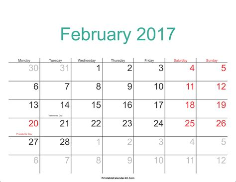Calendar 2017 Pdf In February 2017 Calendar Pdf Printable Calendar Templates