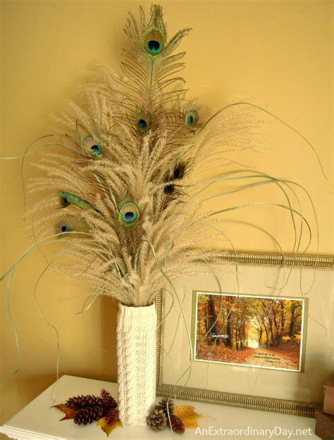 mantel decor decorating with pas grass and peacock