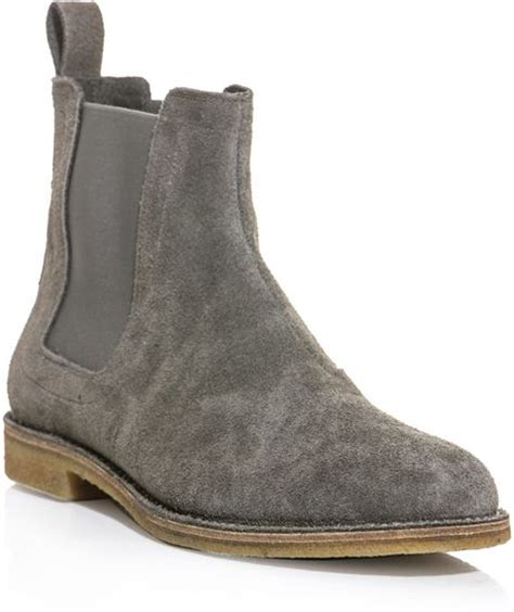 grey chelsea boots mens bottega veneta suede chelsea boots in gray for grey