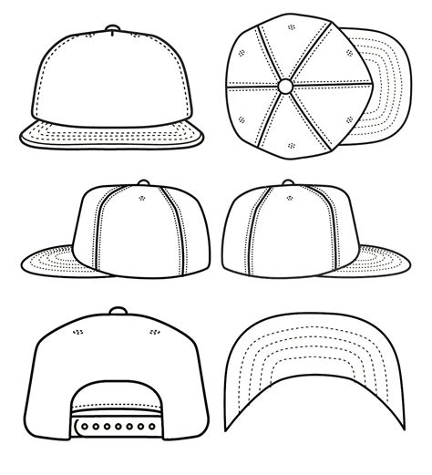 Best Photos Of Blank Snapback Stencil Snapback Hat Template Cad Sketches Pinterest Cap Design Template