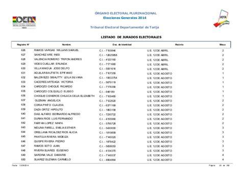 jurados electorales bolivia jurados electorales tarija elecciones 2014 bolivia