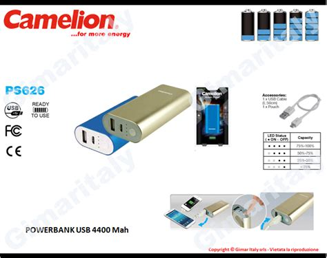 Power Bank Camelion 6000mah caricabatterie power bank 4400 mah usb camelion ps 626