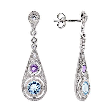 Butterfly Silver Dangle With Cubic Zirconia P 173 925 sterling silver multi color cubic zirconia drop dangle earrings ebay