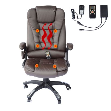office chair with heat homcom luxury heated office chair brown aosom ca