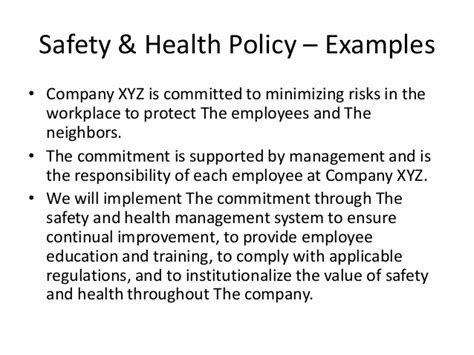company safety policy template health safety management system in indian construction