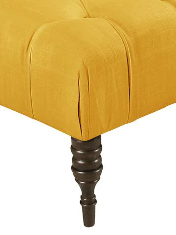 french yellow ottoman tufted cocktail ottoman in linen french yellow by skyline