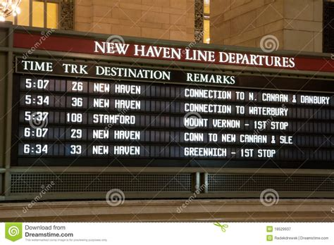 train timetable stock image image  american arriving