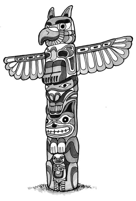 Printable Totem Pole Coloring Pages Coloring Me Totem Pole Colouring Pages