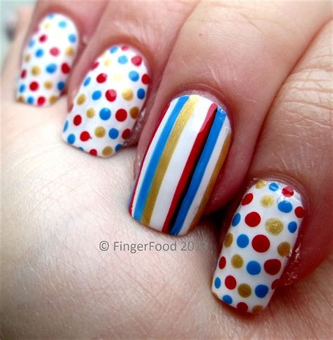 easy nail art stripes simple polka dots and stripes nail art gallery