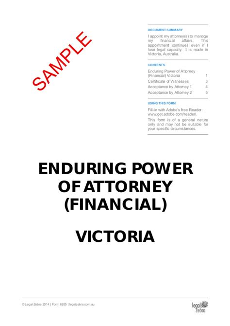 powers of attorney act 1971 section 10 enduring power of attorney financial victoria template