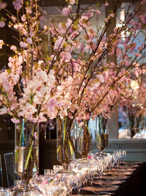 tall arrangements cherry blossoms centerpieces tall