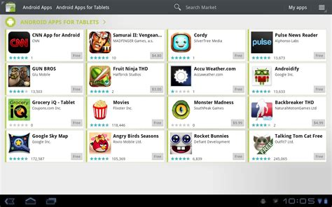 apps for android tablet android market app for tablet