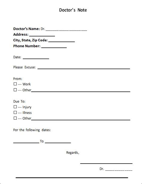 free doctor excuse template 5 free doctors note templates top form templates