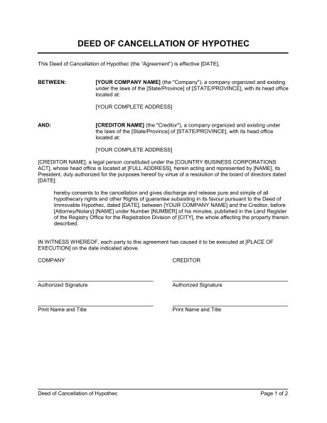 Cancellation Letter House Purchase Deed Of Cancellation Of Hypothec Template Sle Form Biztree