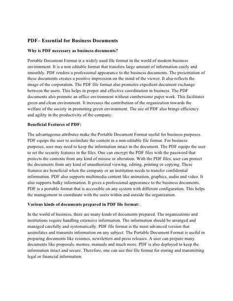 PDF– Essential for Business Documents
