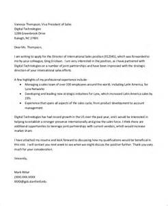 Sales Director Cover Letter by Sle Sales Cover Letter 10 Exles In Word Pdf