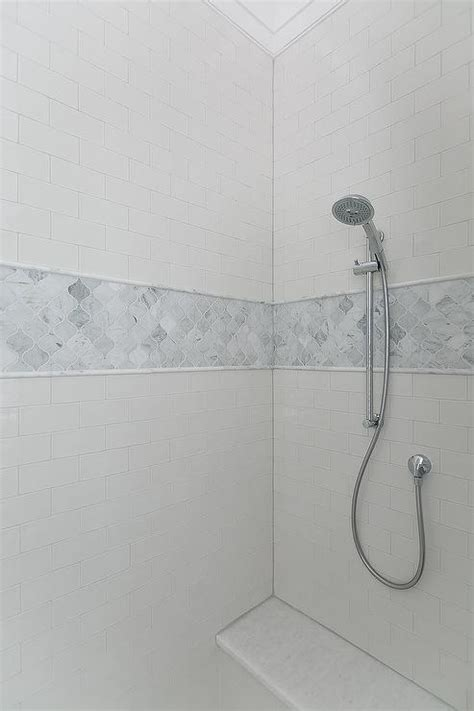 accent tile in shower white subway tile shower with accent www imgkid