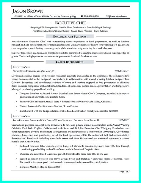 best executive chef resume sles chef resumes that will impress your future company
