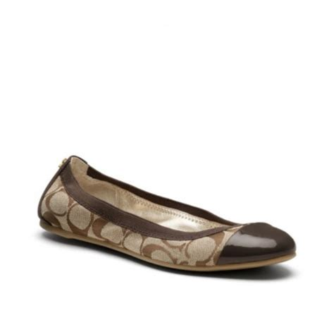 flat shoes coach coach coach dalia cap toe jacquard fabric ballet flats
