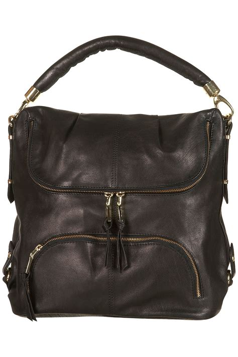 Leather Slouchy Satchel From Topshop by Topshop Leather Zip Slouch Bag In Black Lyst
