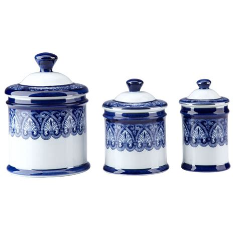 blue and white kitchen canisters blue and white kitchen canisters lengend of asia blue white fish cylinder tea jar set 4
