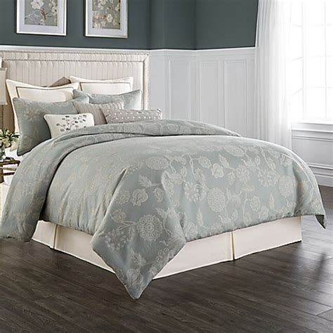 wamsutta 174 chelsea comforter set in sea glass ivory bed