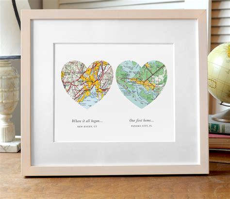 Wedding Gift Map by Two Hearts Map Print Wedding Or Engagement Gift Two Map