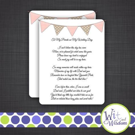 To My Parents on My Wedding Day Poem on Etsy, $35.00