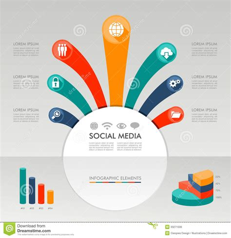 Social Media Infographic Template Graphic Elements Illustration Stock Vector Illustration Of Free Graphic Templates