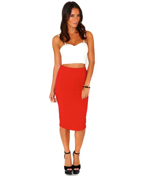 missguided jeania ribbed bodycon midi skirt in in