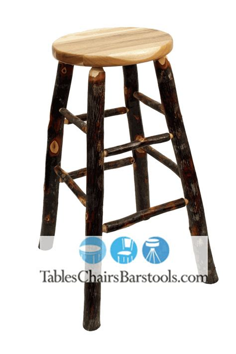 Hickory Wood Bar Stools by Amish Built Rustic Lodge Backless Hickory Stick Bar Stool