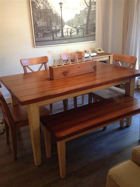 landlocked farmhouse dining table and bench mint condition carmichael pier 1 farmhouse dining table